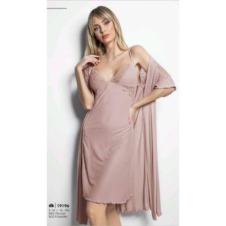 Луксозен дамски комплект нощница с халат