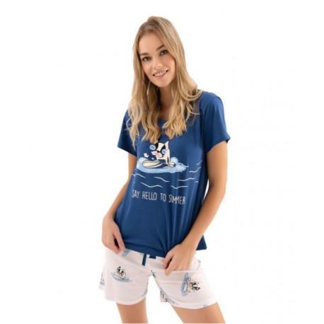 Дамска пижама с апликация Hello Summer