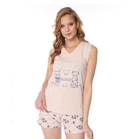 Дамска пижама с апликация Meow