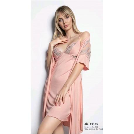 """Луксозен дамски комплект """"Сиена"""" - нощница с халат"""