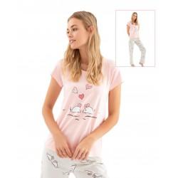 Дамска пижамка Love с апликация мишлета