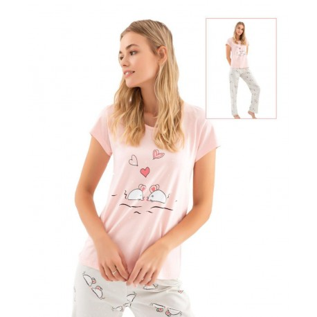 Дамска пижама с апликация Love