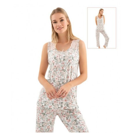 Дамска пижама с апликация цветя