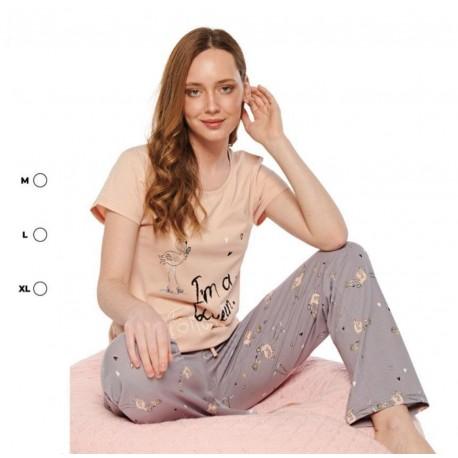 Дамска пижама с апликация фламинго